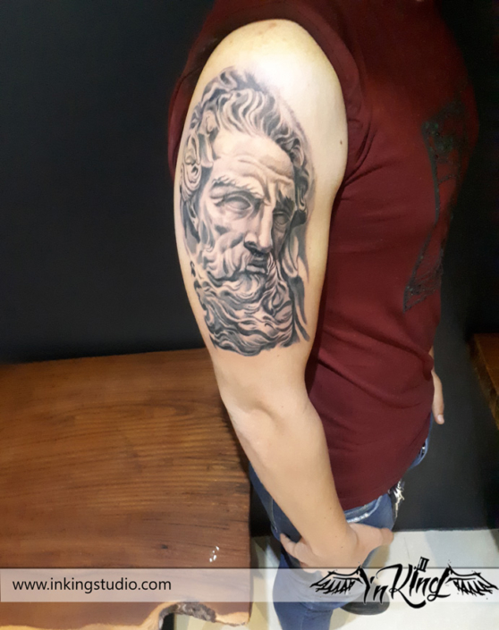 tattoo arm zeus black and gray