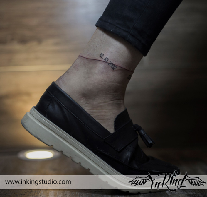anklet tattoo birth day red line